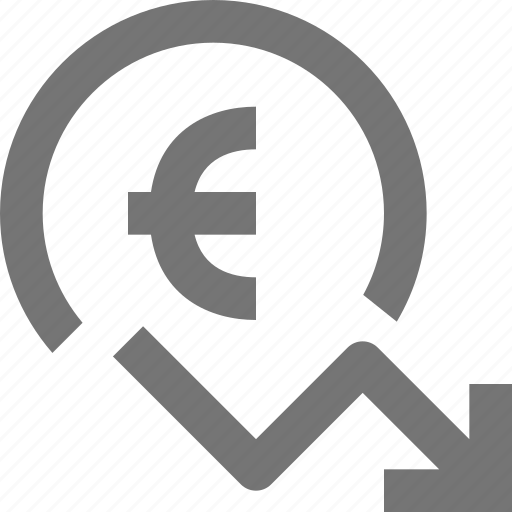 Euro, arrow, currency, decrease, money, finance, stock icon - Download on Iconfinder