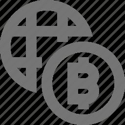 bitcoin, coin, finance, global, international, internet, stock, virtual icon