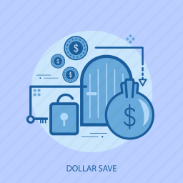 business, concept, currencies, dollar save, finance, locked, money icon