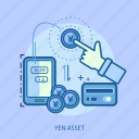 business, concept, credit card, currencies, finance, money, yen asset icon