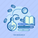 book, business, concept, currencies, finance, money, yen research icon