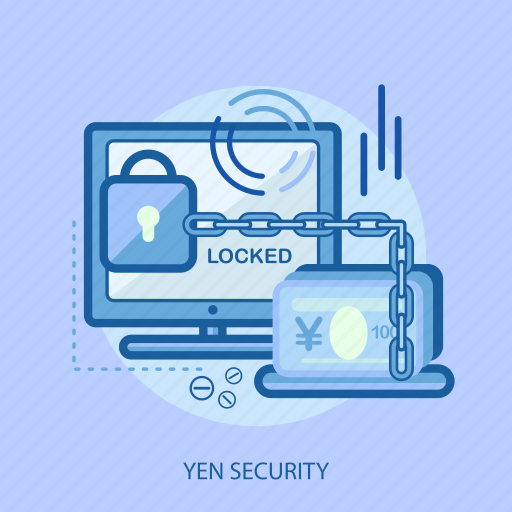 business, concept, currencies, finance, locked, money, yen security icon