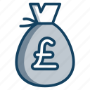 currency sack, money bag, money sack, pound bag, pound sack, wealth icon