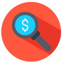 dollar, magnifying glass, money, seachring icon