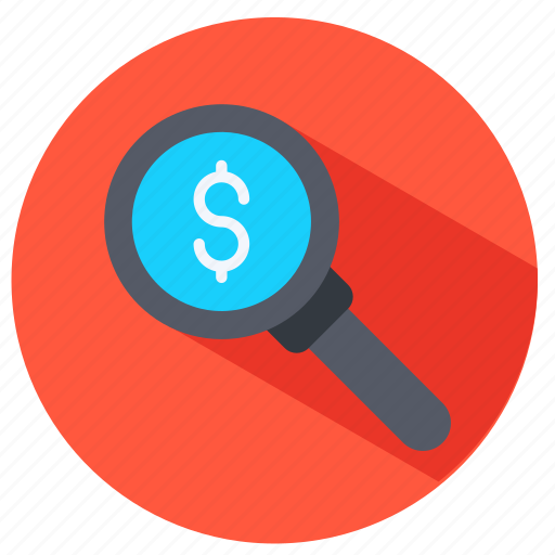 dollar, magnifying glass, money, seachring icon