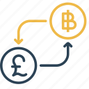 bitcoin, conversion, currency, money, pound, to, uk icon