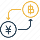 bitcoin, china, conversion, currency, money, to, yen icon