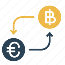 bitcoin, conversion, convert, currency, euro, finance, money icon