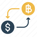 bitcoin, conversion, convert, currency, dollar, finance, money icon