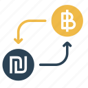 bitcoin, conversion, currency, exchange, israeli, money, shekel icon