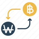 bitcoin, conversion, convert, currency, finance, money, won icon