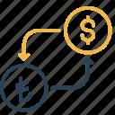 conversion, currency, dollar, lira, money, to, turkey icon