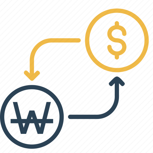 conversion, currency, dollar, finance, money, to, won icon