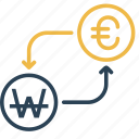 conversion, currency, euro, finance, money, to, won icon