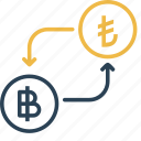 bitcoin, conversion, currency, lira, money, to, turkey icon