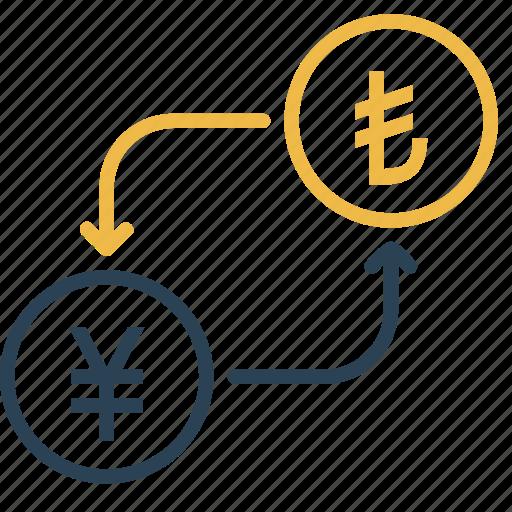 conversion, currency, lira, money, to, turkey, yen icon
