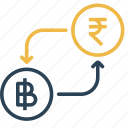 bitcoin, conversion, currency, finance, money, rupee, to icon