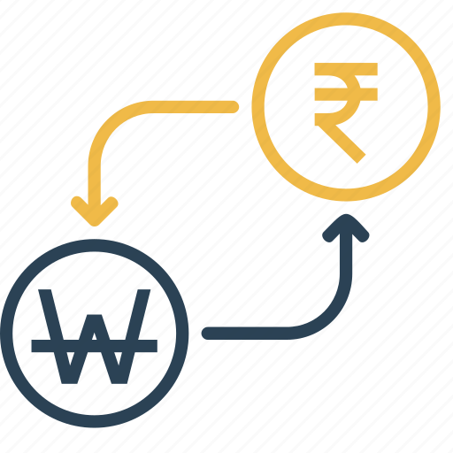conversion, currency, finance, money, rupee, to, won icon