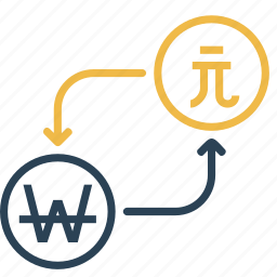 conversion, currency, dollar, finance, money, taiwan, won icon