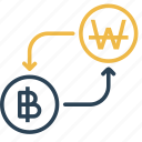 bitcoin, conversion, currency, finance, money, to, won icon