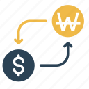 american, conversion, currency, dollar, money, to, won icon