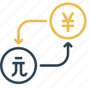 conversion, to, money, yen, dollar, currency, taiwan icon