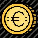 business, cash, coin, euro, money icon