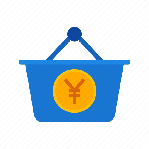 basket, business, cash, currency, money, wealth, yen icon