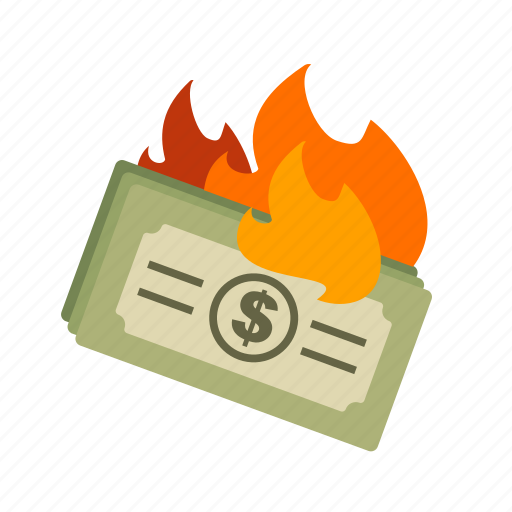 business, dollar, finance, financial, fire, inflation, money icon