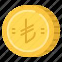 business, cash, coin, lira, money, turkish icon