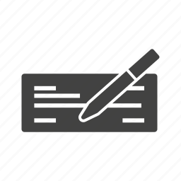 bank, business, cheque, finance, payment, sign, writing icon