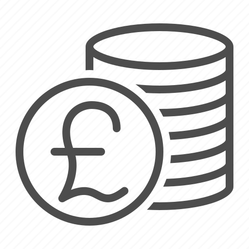 coins, currency, money, pound, pound sterling, stack icon