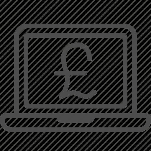computer, internet banking, laptop, mobile banking, online banking, pound icon