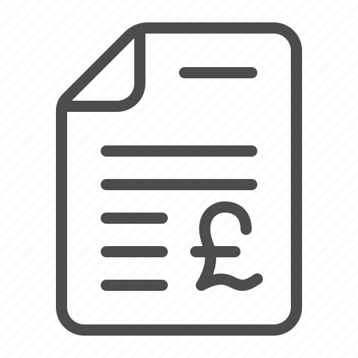 contract, document, invoice, pound, tax form icon