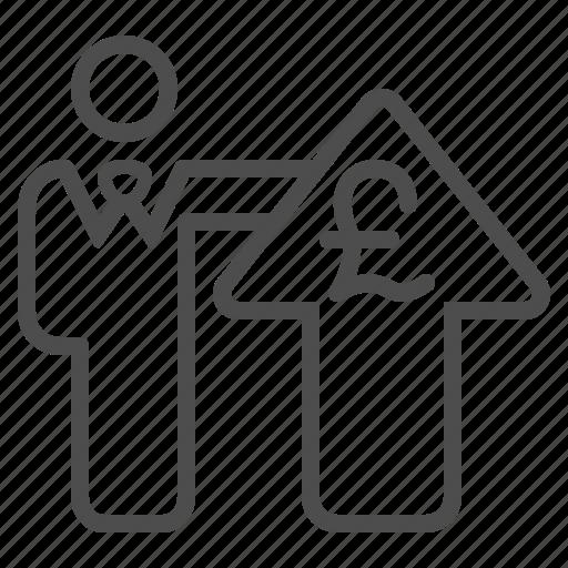 arrow, businessman, currency, pound, profit icon