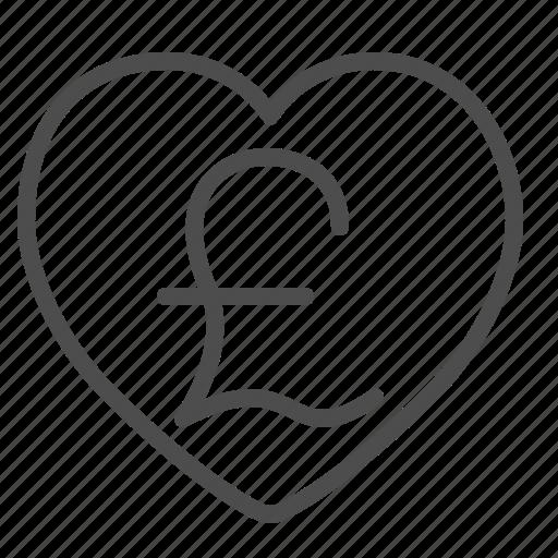 finance, heart, love, pound, sterling icon