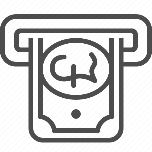 atm slot, banknote, bill, cash, pound, withdrawal icon