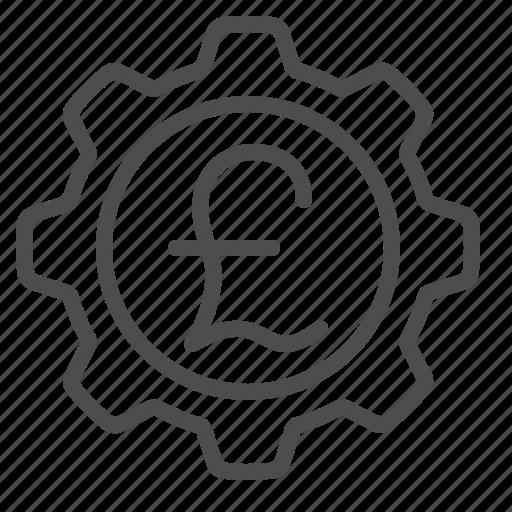 cog, gear, pound, pound sterling, sprocket icon