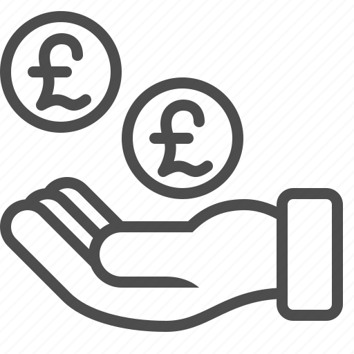 begging, bribe, cash, coins, donation, hand, pound sterling icon