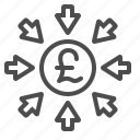 arrows, pound sterling, transactions icon