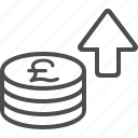 arrow, buy, coins, pay, pound, shopping, transaction icon
