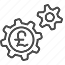 business, cogs, economy, finance, gears, pound, sprockets icon