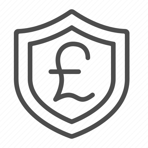 currency, insurance, investment, pound, security, shield icon
