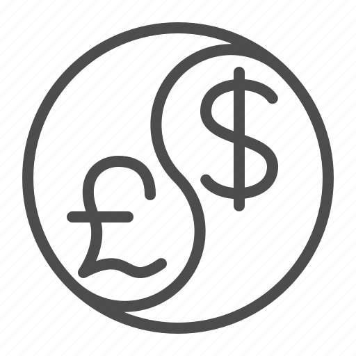 conversion, currency, dollar, exchange rate, finance, pound, yin yang icon