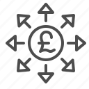 arrows, brexit, coin, finance, pound, transaction icon