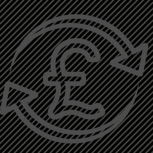 arrows, conversion, exchange rate, pound, transaction icon