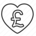 finance, heart, love, money, pound icon