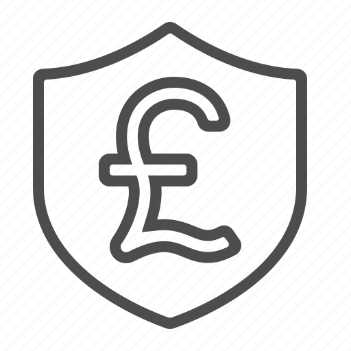 insurance, investment, pound, security, shield icon