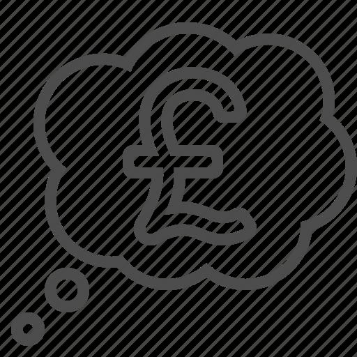 pound, thinking, thought bubble icon