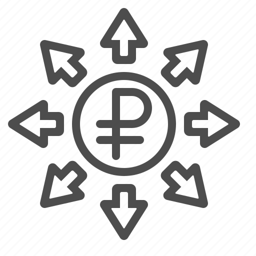 arrows, coin, investment, rouble, ruble, transactions icon